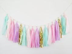 Pastel Mint Green, Pink and Purple Tassel Garland - Pastel Party Decor, Mint and Purple Decor, Pink and Mint Garland, Unicorn Party Decor Girl Nursery Colors, Mint Nursery, Nursery Ideas, Pastell Party, Baby Shower Unicornio, Pink Party Decorations, Green Decoration, Tissue Paper Tassel, Unicorn Baby Shower