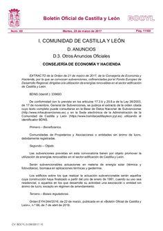 Subvenciones, cofinanciadas por el Fondo Europeo de Desarrollo Regional, dirigidas a la utilización de energías renovables en el sector edificación de Castilla…