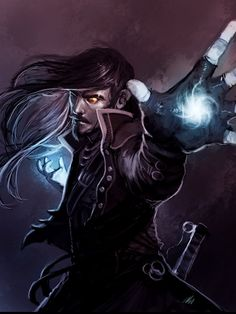 An arcane mage preparing an arcane spell.  The fingerless gloves are a nice touch