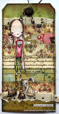 <3 the back ground with the pieced paper and sewing - great use for scraps!