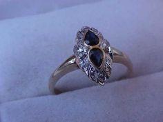 Antique  Art Deco 14kt  2-Tone Genuine  1.25cttw Sapphires & Diamonds , Circa1930's