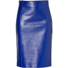 VERSACE Electric Blue Leather Skirt ($1,206) ❤ liked on Polyvore featuring skirts, mini skirts, bottoms, saias, versace, royal blue skirt, evening skirts, high waisted mini skirt, leather mini skirt and high waisted leather skirt