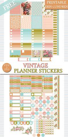 Free Vintage Planner Stickers for Erin Condren by GreenLightIdeasGLI.deviantart.com on @DeviantArt