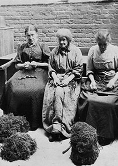 Pauper women picking oakum in the workhouse