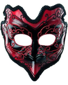 Red Demon Mardi Gras Mask Adult