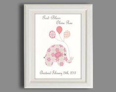 Christening Gift -Baptism Gift -Baby Girl Personalized Print -Elephant Nursery Decor, Name Wall Art for Nursery, - PRINT