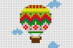 Hot Air Balloon Pixel Art from BrikBook.com #HotAirBalloon #balloon #flight…