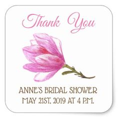 Pink Flower Shower Square Stickers - floral style flower flowers stylish diy personalize