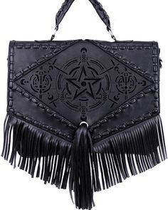 Restyle Gothic Gypsy Witch Dark Magic Pentagram Design Satchel Bag with Fringes