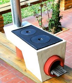 rocket stove kitchen oven - uses less fuel and can also add function to heat water for kitchen/bathroom, heat the house (floors/seating) and can use the charcoal in the garden.