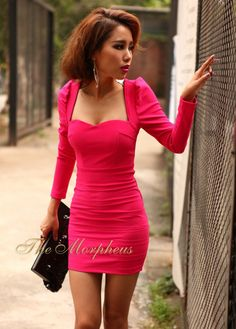 Morpheus Boutique  - Hot Pink Long Sleeve Empire Waist High Shoulder Banded clubwear Mini Dress