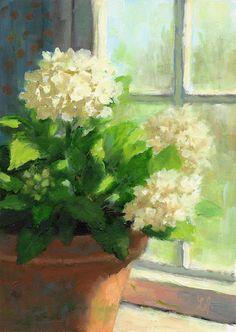 White Geranium at window  Linda Jacobus