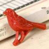 Louis Bird Brooch (red) by Acorn & Will