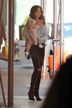 Chrissy Teigen wearing 3x1 W2 Mid Rise Skinny Jeans in Black Fade