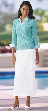 Modest white skirt with aqua sweater.  Perfect for poolside.  Chadwicks c. 1999