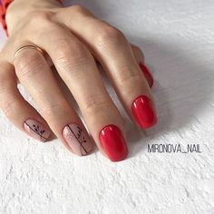 Nail Arts Fashion Designs Colors and Style Short Nail Designs, Nail Art Designs, Red Nails, Hair And Nails, Short Nails Art, Minimalist Nails, Square Nails, Flower Nails, Perfect Nails