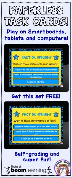 Go paperless with task cards! These FREE Fact or Opinion Boom Cards will play on any device! Easy, effective, and so much fun!