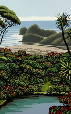 'Kawaupaku - Te Henga' by Tony Ogle, NZ. Screenprint of NZ beach, rocks and bush. Nz Art, Art For Art Sake, New Zealand Landscape, New Zealand Art, Maori Art, Plant Drawing, Landscape Artwork, Garden Landscape Design, Naive Art