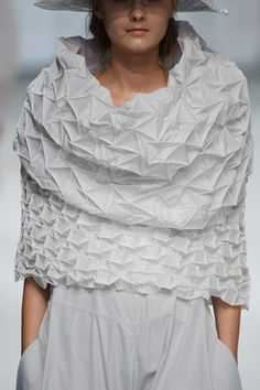Fabric Manipulation - faceted capelet; geometric fashion detail; origami textiles design // Issey Miyake Spring 2015