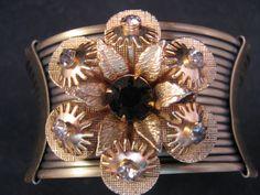 Vintage Cuff Bracelet Vintage Flower by JenniferJonesJewelry, $45.00