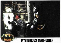 "Item Description Name Batman Title Mysterious Manhunter Format Movie Trading Card Card Company and Number Topps Size X Country of Origin United States Year of Issue 1989 Condition of Item M- (Near Mint) Notes Michael Keaton as ""Batman"" Michael Keaton Batman, Batman Pictures, Trading Card Database, Batman Poster, Batman Returns, Batman The Animated Series, Card Companies, Detective Comics, Comic Book Characters"