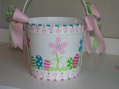 Girls 10 QT Easter Basket... Easter Bucket... Pail... Personalized with Name... Hand Painted... Polka Dots Stripes Flowers... Custom. $34.95, via Etsy.