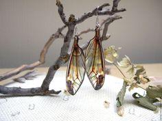 Купить Прозрачные Серьги Крылья Стрекозы Бабочки Насекомые Эпоксидная Смола - прозрачные серьги смола