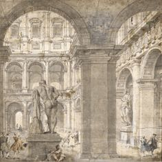 Gian Paolo Panini  PIACENZA 1691 - 1765 ROME  VIEW OF THE COURTYARD OF THE PALAZZO FARNESE WITH THE STATUE OF HERCULES, SEEN FROM BEHIND AND THROUGH AN ARCHWAY, AND SEVERAL FIGURES  Pen and black and gray ink and wash and watercolor, heightened with white.  Drawn on two joined sheets. A pentimento in the lower right corner, where Panini has added the two figures conversing;  bears old attribution in pen and brown ink on the backing: j.p.panini  419 by 417 mm;  16 1/2  by 16 7/16  in