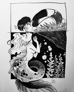 Unexpected kiss! for #inktober2016 /please forgive me the upper girl's anatomy /pentel  brush pen,  staedtler fineliners,  grey promarkers