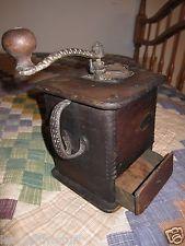 Late 1800s Wooden Coffee Mill/ Grinder Primitive Antique Rustic Original (Sun?)