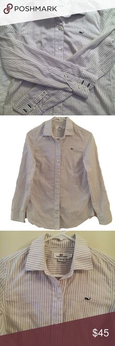 """Vineyard Vines Oxford Stripe Button Down size 0 Great traditional oxford button down dress shirt. Light gray and white stripes. Blue vineyard Vines whale logo on left chest. 100% cotton. Excellent condition! Size 0. 17"""" between armpits, 21.5"""" shoulder to hem. Vineyard Vines Tops Button Down Shirts"""