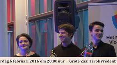 Finalisten Elise Besemer, Michael Foyle en Pieter van Loenen van het Nederlands vioolconcours, categorie Oskar Back, 6 februari 2016 in Tivoli Vredenburg.