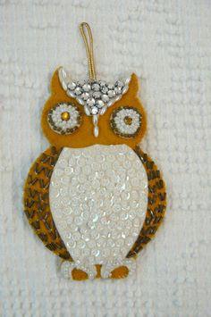 Vintage Owl Ornament  gorgeous by VintageJoysAndJewels on Etsy