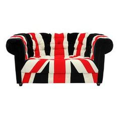 """For my BBC room ... at least one day!  Tufted velveteen sofa with Union Jack-print upholstery and rolled arms. Product: Sofa    Construction Material: Wood, foam cushioning, and velveteen    Color: Black, red and white   Features:  European styling    Will enhance any decor  Dimensions: 30"""" H x 61.75"""" W x 33.9"""" D"""