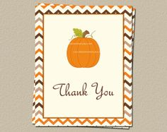 Pumpkin Thank You Cards for Fall Baby Showers, Autumn Chevron, Set of 10 folding note cards with Envelopes, FREE Shipping on Etsy, $8.00