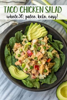 Hypoallergenic Pet Dog Food Items Diet Program This Easy Taco Chicken Salad Is A Family Friendly Paleo Recipe That Only Takes 15 Minutes To Whip Together. No Cooking Needed It's A Great Salad For Meal Prep Or Side Dish For Any Event Whole30 Chicken Salad, Chicken Tacos, Chicken Salads, Chipotle Chicken, Paleo Recipes, Real Food Recipes, Chicken Recipes, Skillet Recipes, Avocado Recipes