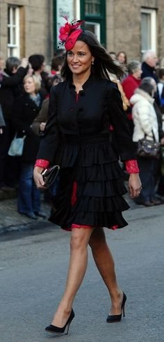 Pippa Middleton red hat and black coat