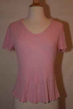 Faded Glory Sz M 8 10 Pink Short Sleeve Sweater Dress Top Blouse Shirt V Neck | eBay