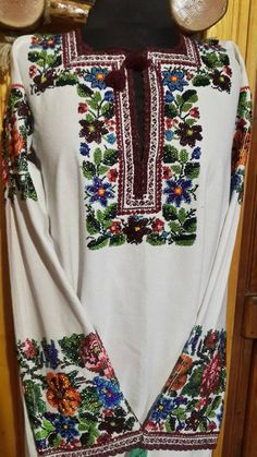 Ukraine, from Iryna Mexican Fashion, Folk Fashion, Ancient Greek Costumes, Bohemian Costume, Polish Embroidery, Mexican Shirts, Ukrainian Dress, Costume Patterns, Embroidered Clothes