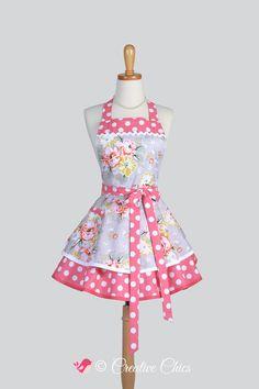 ruffled retro aprons cute flirty full kitchen womens apron in vintage coral - Tuto Tablier Cuisine Retro