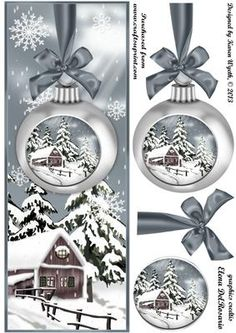 Lovely Silver Christmas Bauble Scene DL on Craftsuprint designed by Karen Wyeth - A pretty silver Christmas baubles scene DL quick card topper with matching bauble decoupage items. xk - Now available for download!