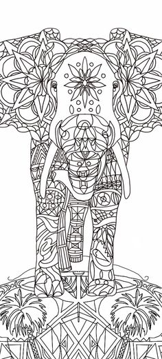 Adult Coloring Book Elephant Clip Art Hand Drawn Original Zentangle Colouring Page Drawings By Valentina