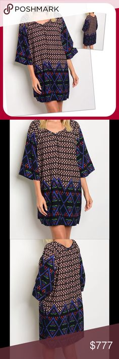 COMING SOON Black Blue Rust Dress(MADE USA) PRICE FIRM UNLESS BUNDLED ‼️ Scoop neck 3/4 sleeve multi print tunic dress. 100% polyester. Made in USA. NWOT from wholesaler. Color may vary due to lightning. Check out my other items for a bundle discount. Dresses Midi