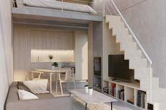 Mezzanine loft, mezzanine bedroom, bedroom loft, loft house, tiny h Tiny Spaces, Loft Spaces, Small Rooms, Small Apartments, Mini Loft, Casa Loft, Loft House, Tiny House, Mezzanine Bedroom