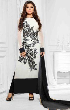 USD 60.27 White Georgette Designer Suit 47260