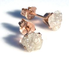 Raw Diamond Studs -- in 14k Rose Gold over Sterling Silver