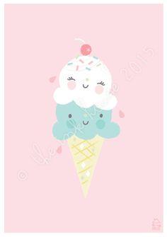 A4 GELATO PRINT, ice-cream ice cream sorbet Illustration, art print, poster…