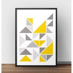 Skandynawska kompozycja trójkątów w różnych kolorach umieszczona na satynowym i matowym plakacie jest tym czego szukasz do swojego wnętrza.