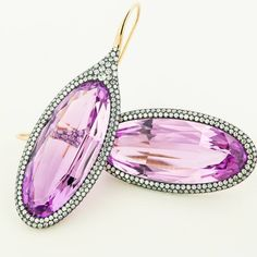 Kunzite, diamond and gold ear pendants.  #taffinjewelry #taffin #jamesdegivenchy #jamestaffindegivenchy