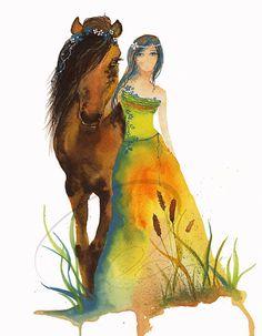 Walk with me - Art Print bedroom decor gift idea horse spirit tree dryad colourful leaves  girl green blue grass Oladesign 8x10